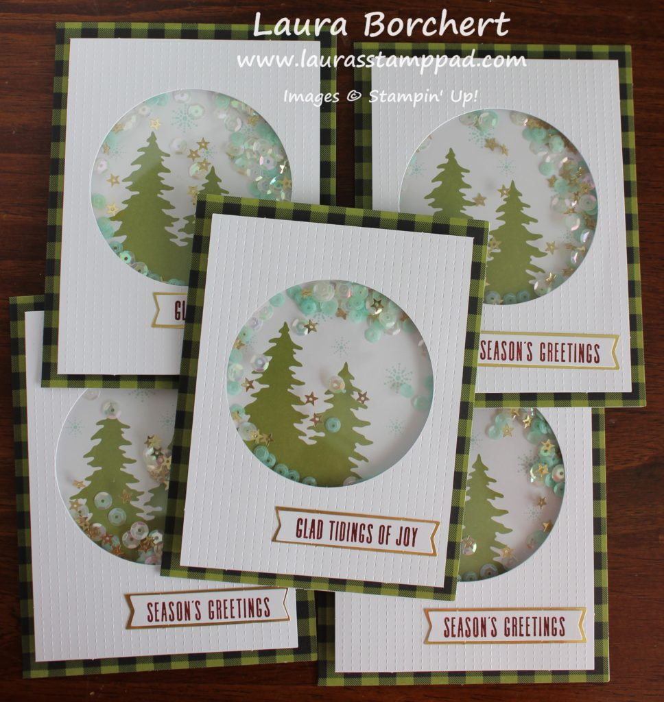 Evergreen Shaker Cards, www.LaurasStampPad.com