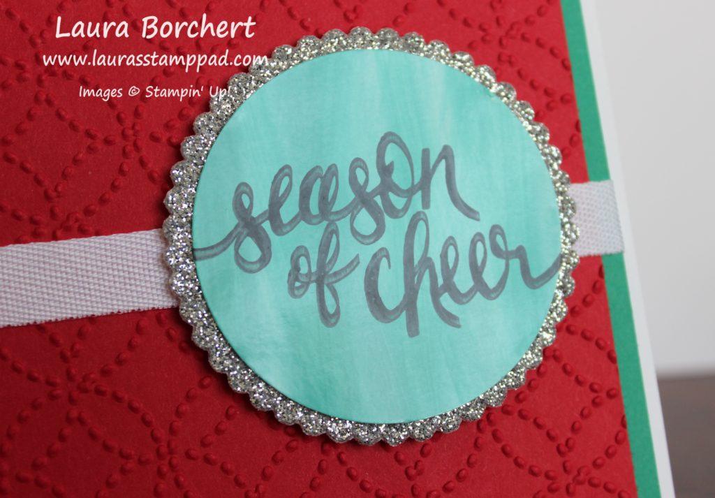 Glitter Greeting on Glossy Cardstock, www.LaurasStampPad.com