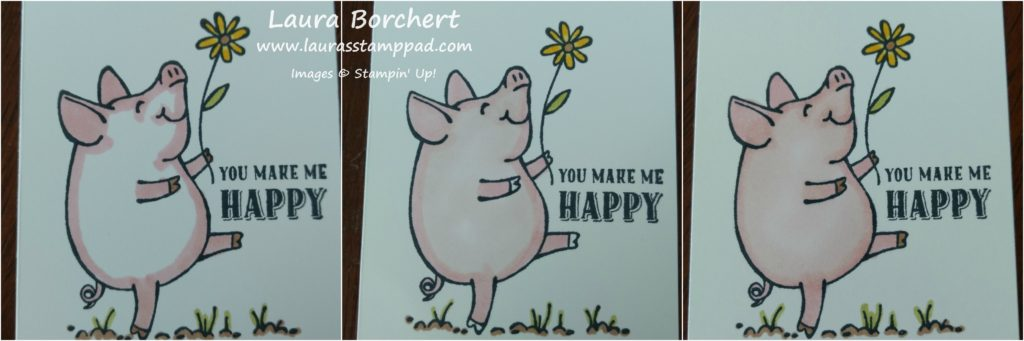 Coloring the Piggy, www.LaurasStampPad.com