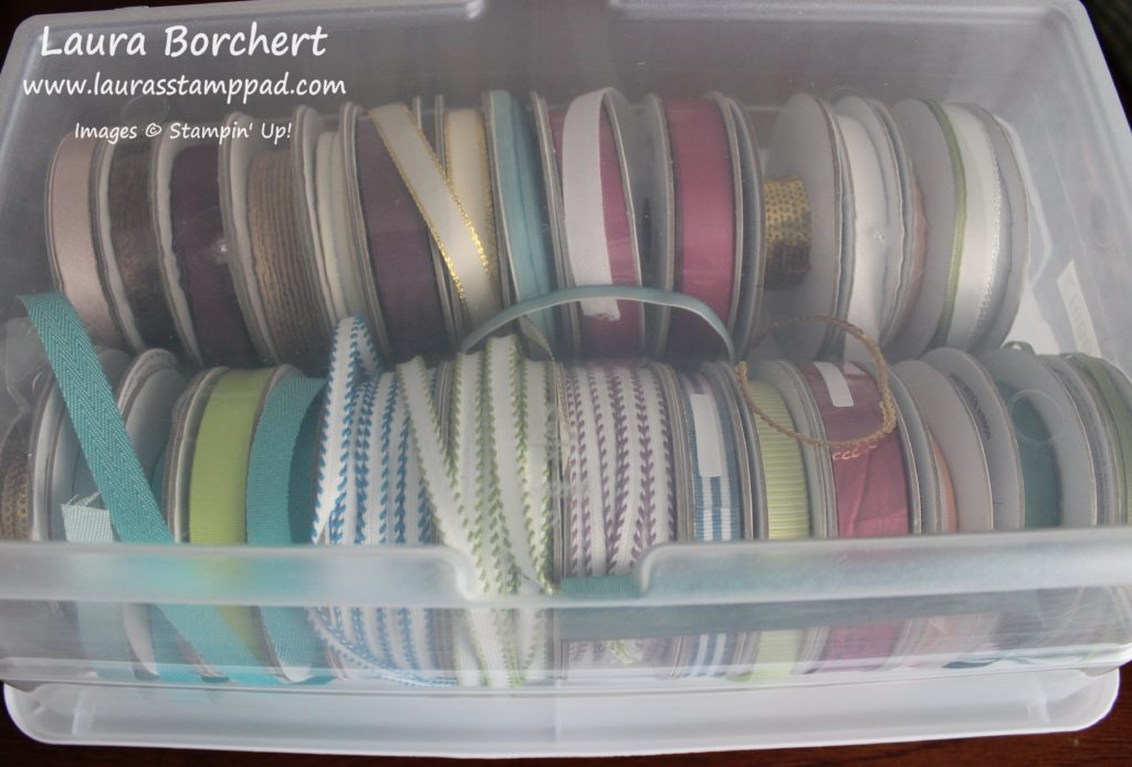 Clear Box Ribbon Storage, www.LaurasStampPad.com