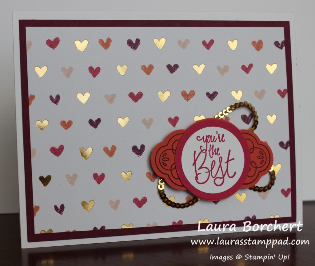 Golden Hearts, www.LaurasStampPad.com