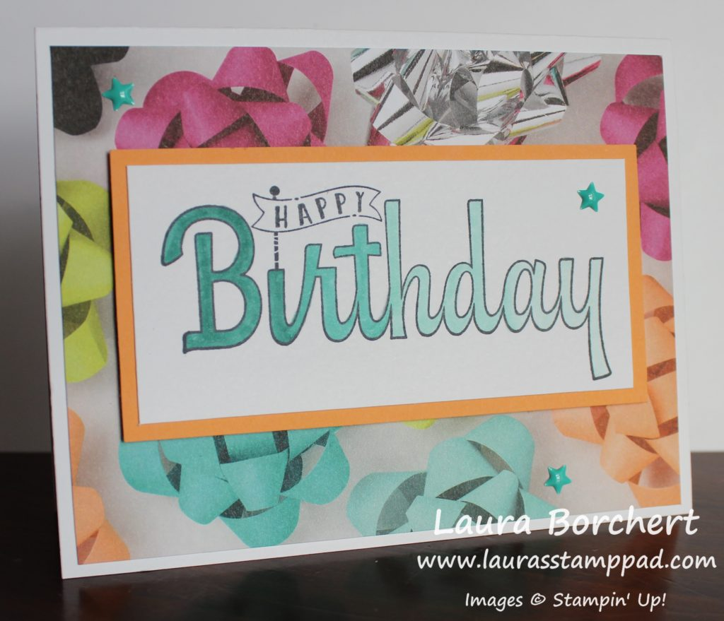 Ombre Birthday Greeting, www.LaurasStampPad.com