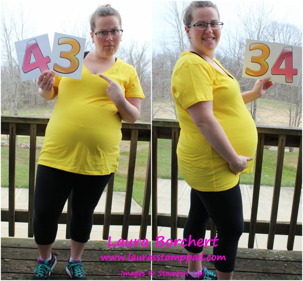 34 Weeks Pregnant, www.LaurasStampPad.com