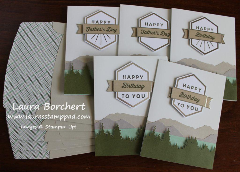 Mountain Masculine Cards, www.LaurasStampPad.com