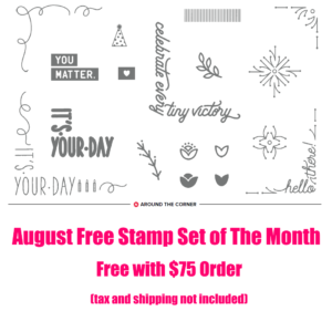August 2018 Free Stamp Set of the Month, www.LaurasStampPad.com