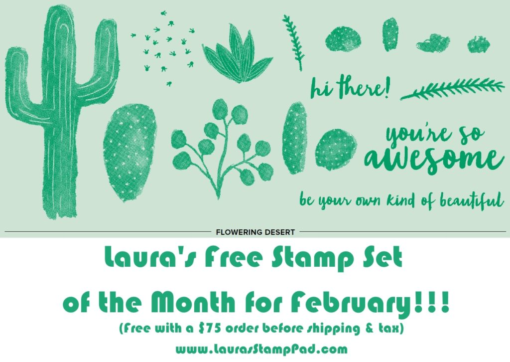 February Free Stamp Set of the Month, www.LaurasStampPad.com