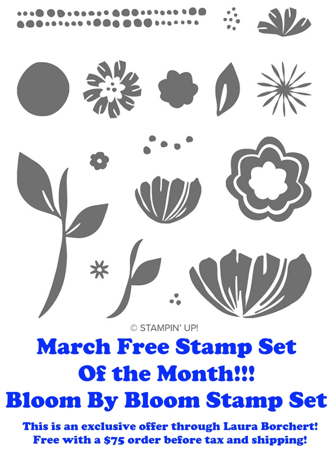 March 2019 Free Stamp Set of the Month, www.LaurasStampPad.com