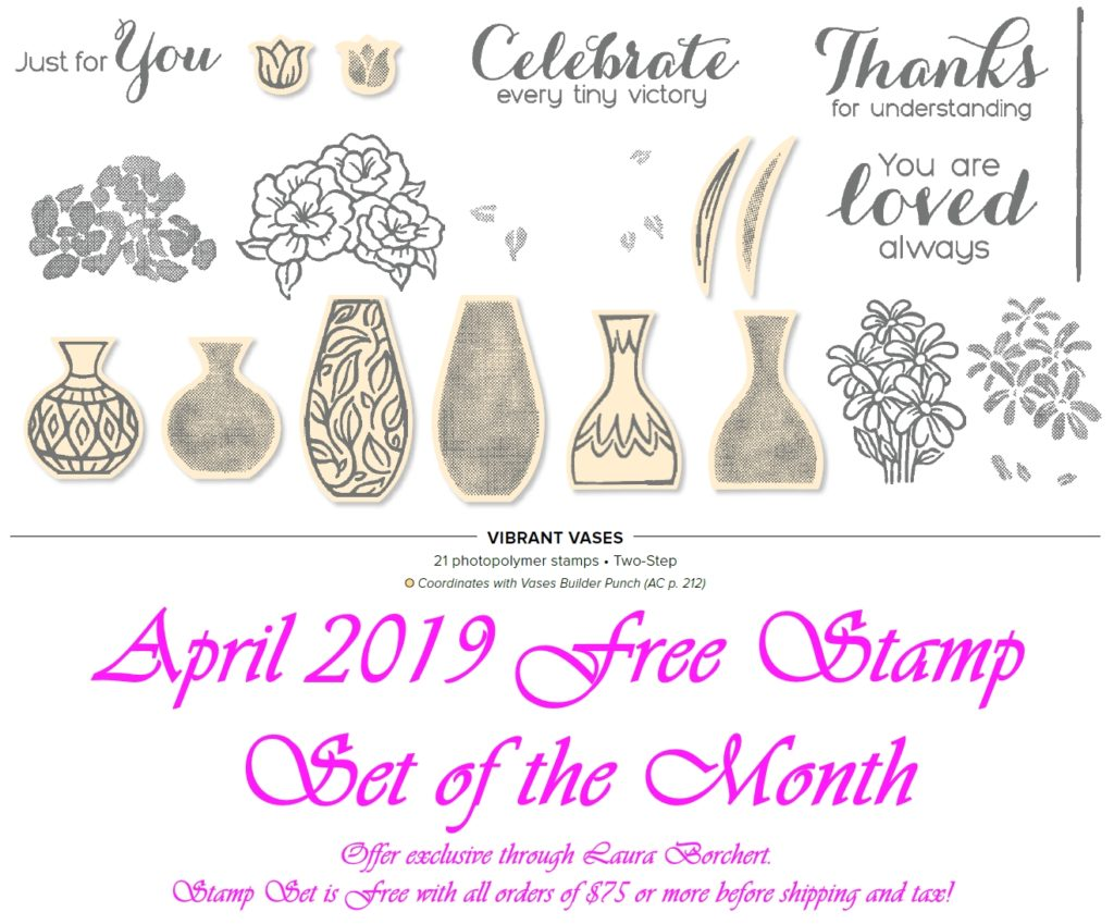 April 2019 Free Stamp Set of the Month, www.LaurasStampPad.com