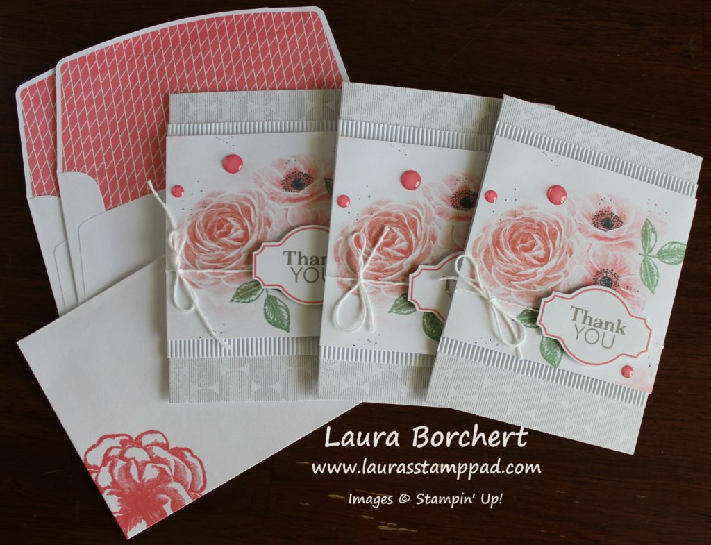 Thank You Notes with Roses, www.LaurasStampPad.com
