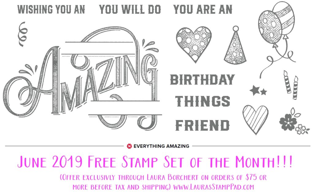 June 2019 Free Stamp Set of the Month, www.LaurasStampPad.com