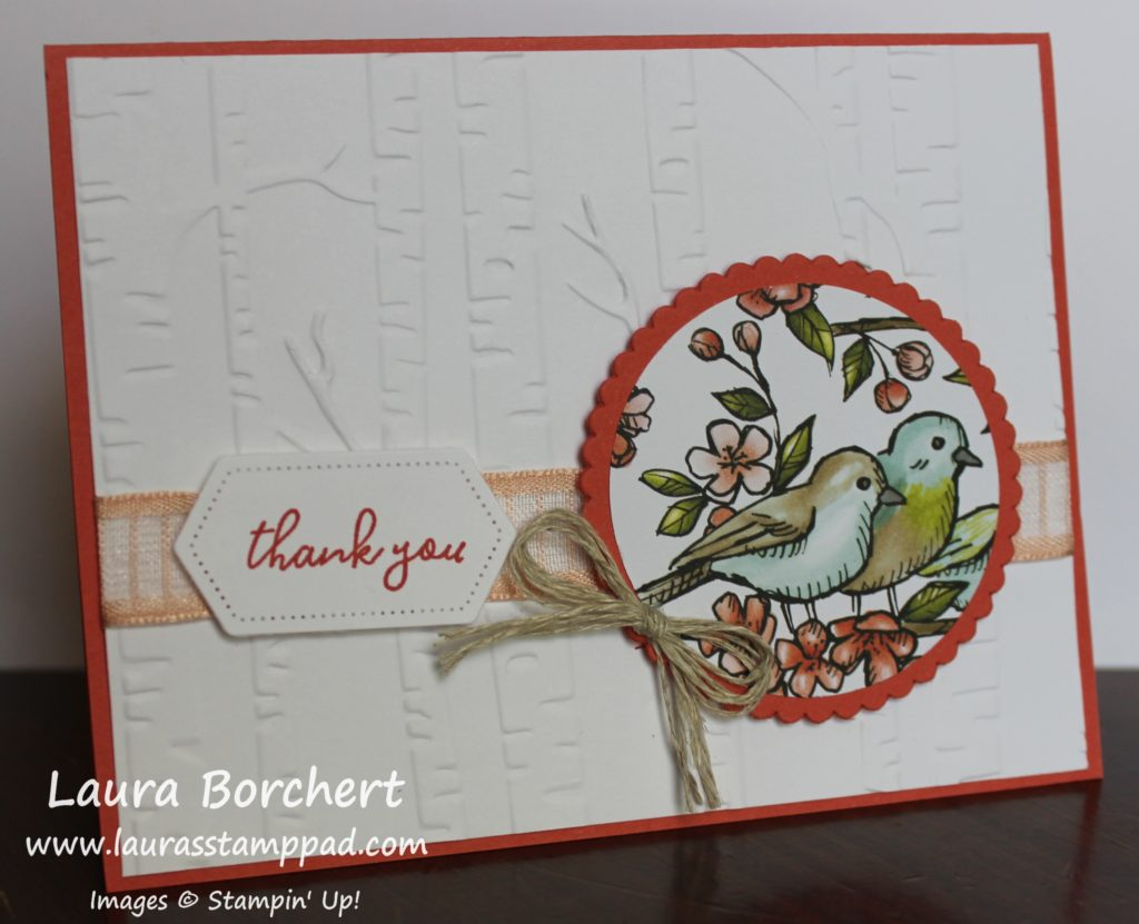 Thank You Birdie Card, www.LaurasStampPad.com