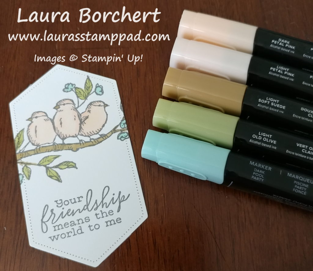 Coloring birds with Stampin' Blends, www.LaurasStampPad.com