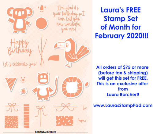February 2020 Free Stamp Set of the Month, www.LaurasStampPad.com