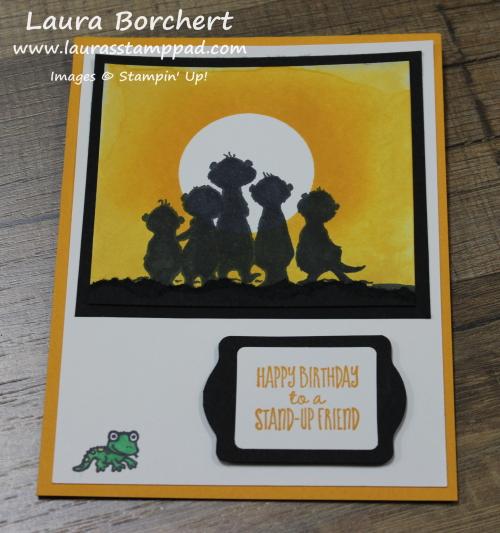 Meerkat Silhouette Sunset Card, www.LaurasStampPad.com