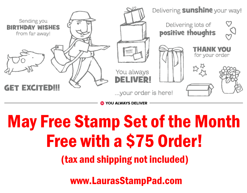 May 2020 Free Stamp Set, www.LaurasStampPad.com