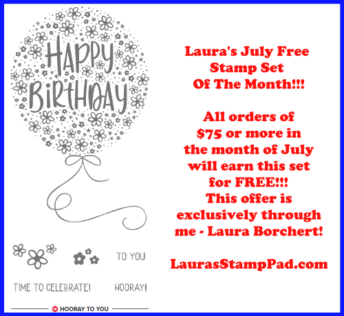 July 2020 Free Stamp Set, www.LaurasStampPad.com