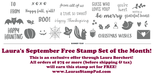 September 2020 Free Stamp Set of the Month, www.LaurasStampPad.com