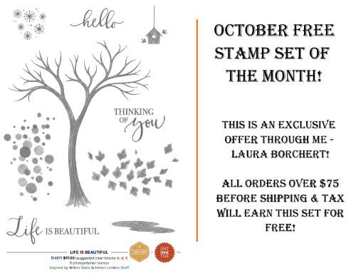 October 2020 Free Stamp Set of the Month, www.LaurasStampPad.com