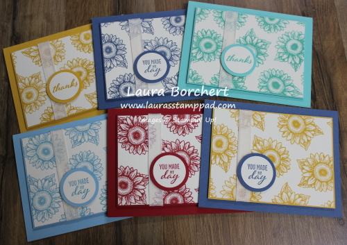 Sunflowers of all colors, www.LaurasStampPad.com