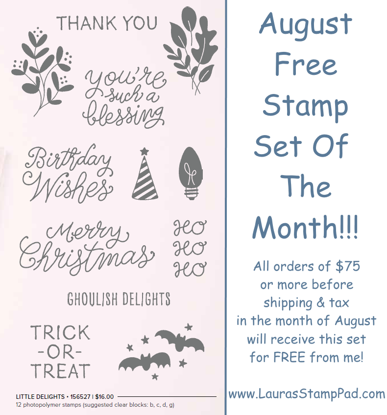 August Free Stamp Set of the Month, www.LaurasStampPad.com