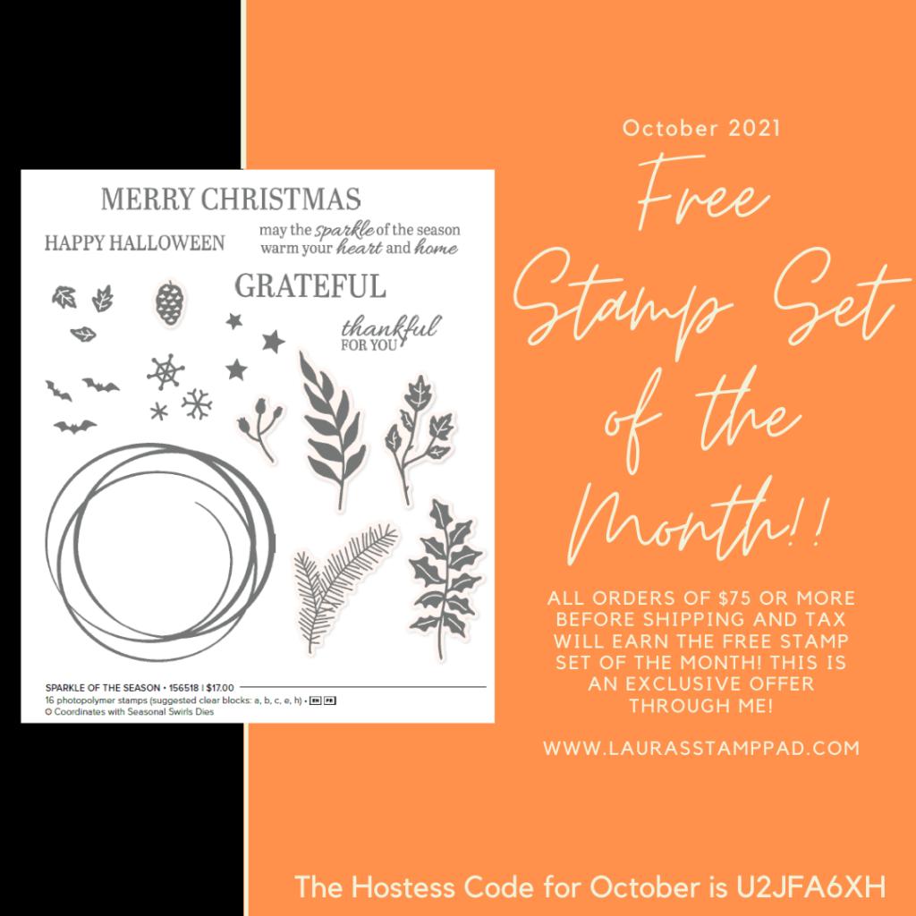 October 2021 Free Stamp Set of the Month, www.LaurasStampPad.com